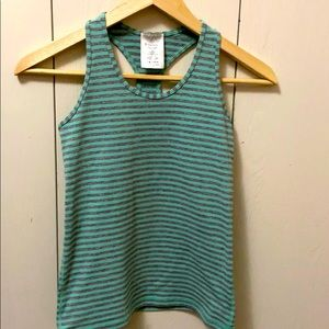 Ivivva Grey and Green Striped Racerback Tank Top